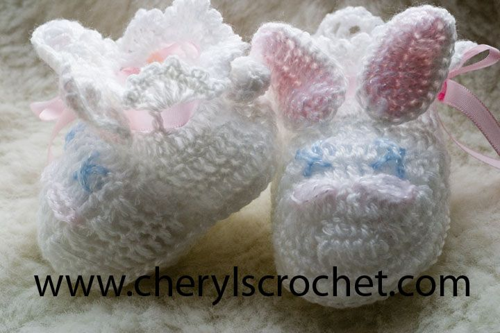 Crochet Bunny Baby Booties Pattern : CC14 Bunny Baby Booties Pattern crochet baby shoes ...