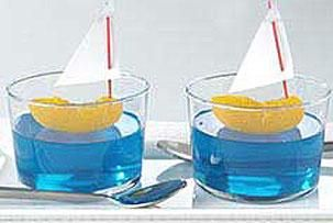 Awesome food idea for pool party: jello, with tangerine boats!