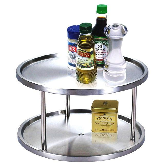 Stainless steel 2 tier lazy susan spice rack storage table home campe - Spice rack for lazy susan cabinet ...