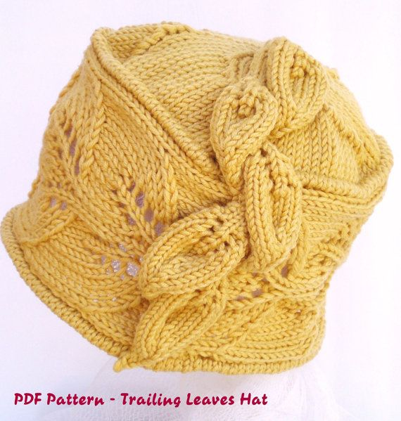 Knitting Patterns Maple Leaf Hat : PDF Knit Hat Pattern - Trailing Leaves Hat / cloche
