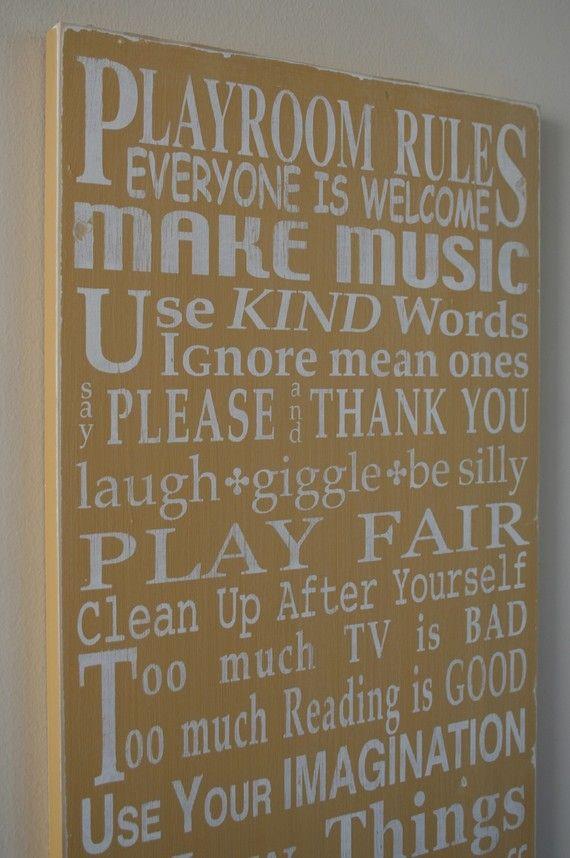 playroom rules. fun!
