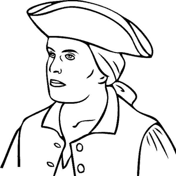Face Paul Revere Coloring Page