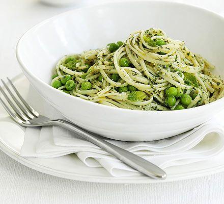 Linguine with peas & mint pesto | bon appetit | Pinterest