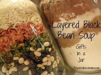 Layered Bountiful Black Bean Soup with gift tag