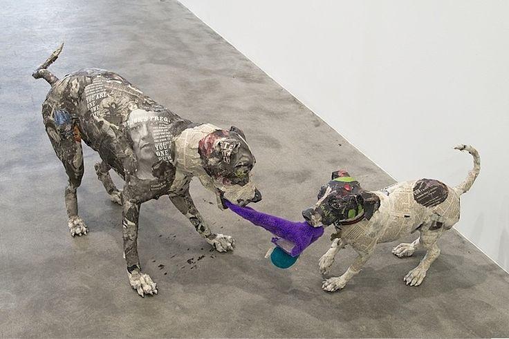 Amazing paper mache dogs sculpture paper mache for Cool paper mache