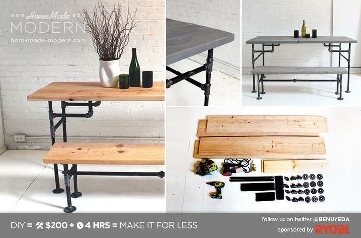 Ironing Table Designs : Ironing Table Designs : DIY Pipe and Wood Dining Table