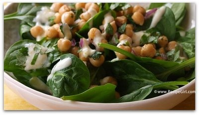 chickpea spinach salad with cumin dressing. YUM!