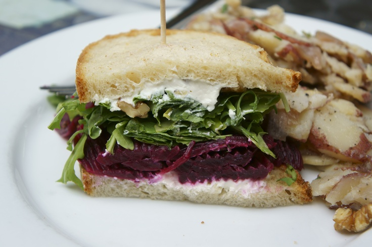 Roasted Beet Sandwich with German-style potato salad