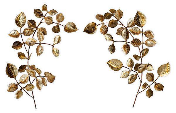Wall Decor Gold Leaves : Gold leaf decorative wall art