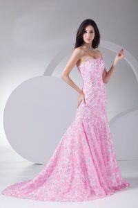 ... Stunning Mermaid Printing Strapless Brush Train Prom Dress in Geelong