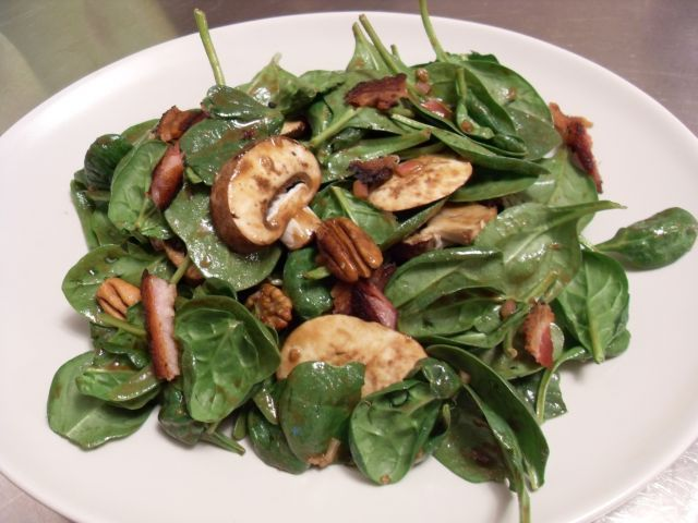 warm spinach salad (replace bacon with feta for me).