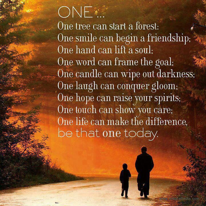 Love This.     The power of ONE !!!!!!!!!!!!