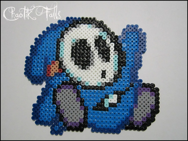this is pixel made with perler its a blue