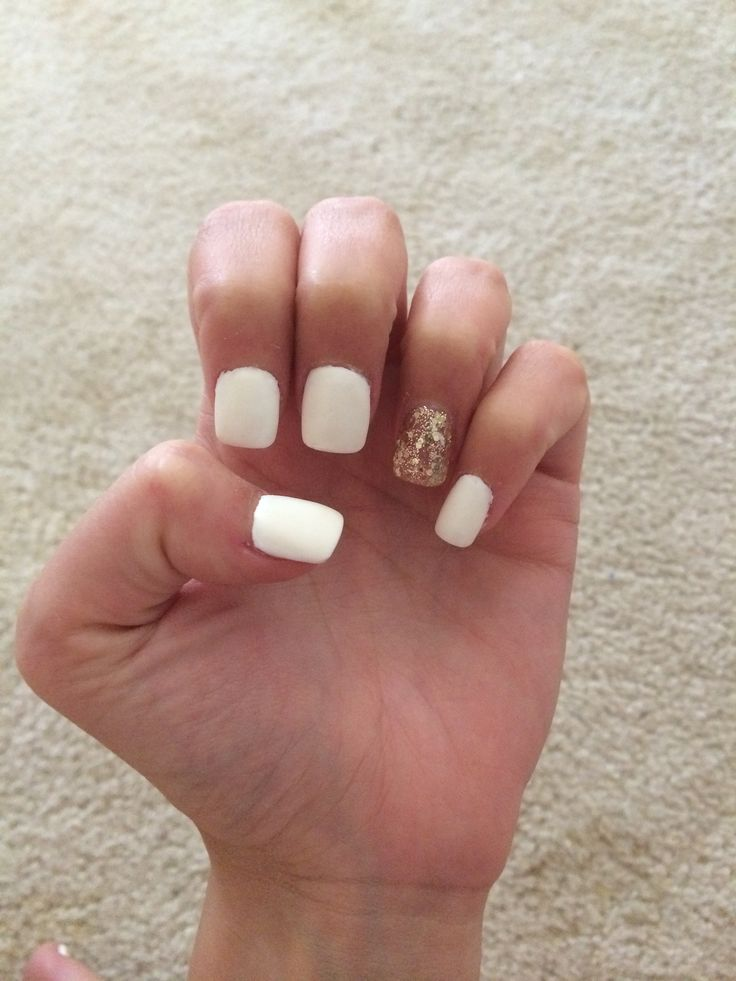Gallery For > White And Gold Matte Nails