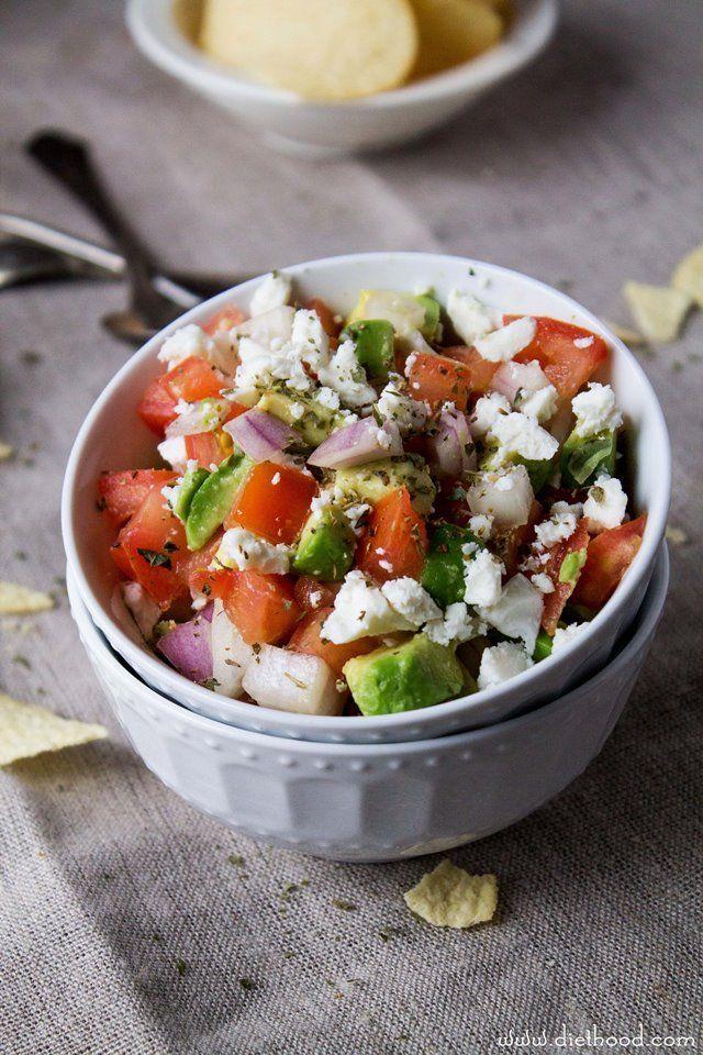 Avocado Feta Salsa | www.diethood.com | Avocados, tomatoes, and feta ...