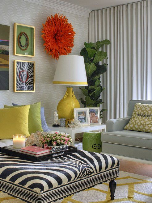 Striking mix of colors and styles in this living room.