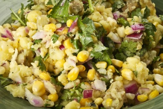 Sweet corn & herbed potato salad: Recipe