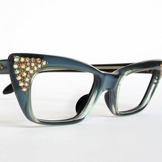 Cat Eye Rhinestone Eyeglass Frames : Satiny Blue Rhinestones Vintage Cat Eye Glasses New Old Stock