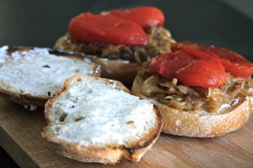 Tomato, Onion, Goat Cheese Sandwich | Food & Drink | Pinterest