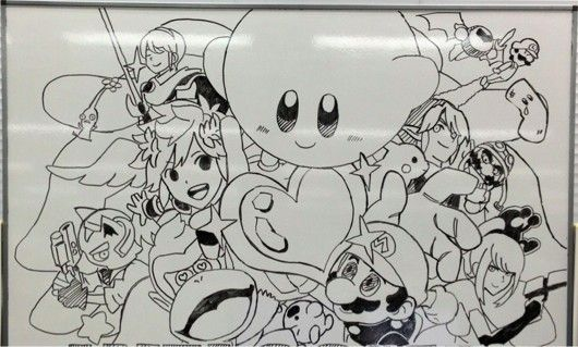 This adorable Smash Bros art from Sakurai says a thousand words