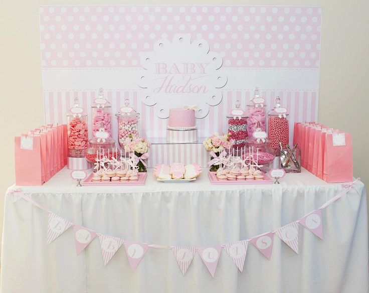 pink and white baby shower by life is sweet candy buffets