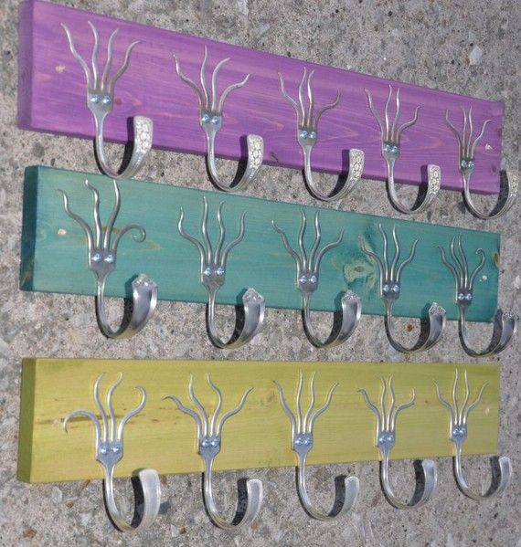 three 5 funky forks coat racks oh yeah purple turquoise green