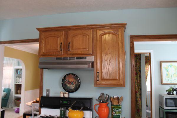 Honey oak kitchen with light blue walls future house for Light blue kitchen walls