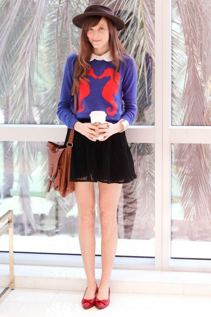 Blue animal sweater, white button up, black skirt, red flats, cross body, felt hat