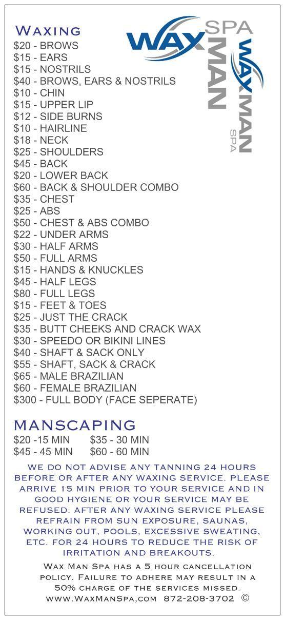 menu hair removal services