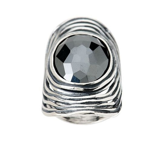 Gorgeous sterling silver/hematite ring by Or-Paz on QVC website for 69.96.