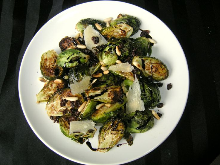 Brussels Sprouts with Toasted Pine Nuts, Raisins, and Parmesan