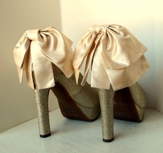 Oversized Satin Bow Shoe Clips - set of 2 - Bridal Shoe Clips, Wedding