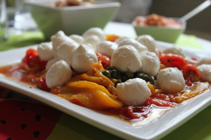 Roasted Peppers with Capers and Mozzarella