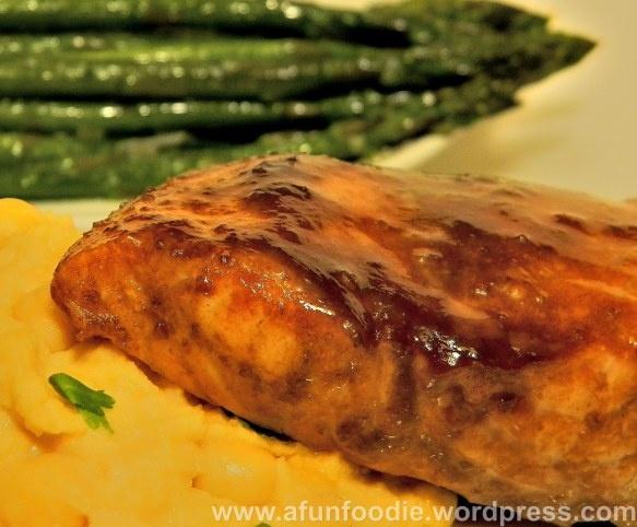 Raspberry-Chipotle Glazed Salmon with Garbanzo Puree