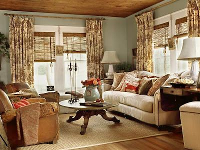 originally from Cottage Living... wall color, ceiling, curtains, layout