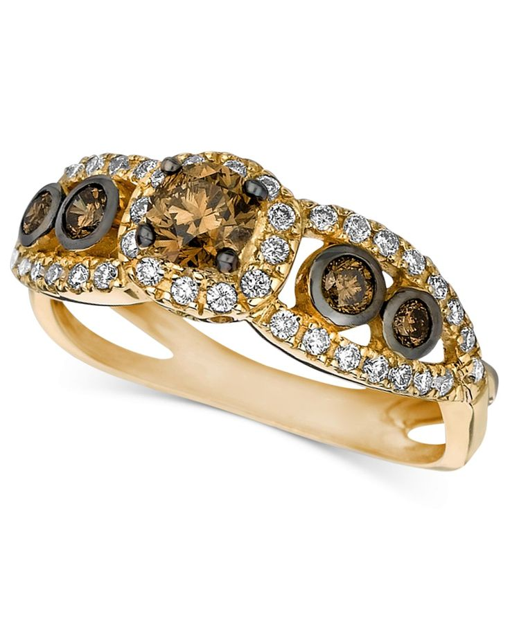Le Vian Chocolate and White Diamond Ring 7 8 ct t w in 14k Gold