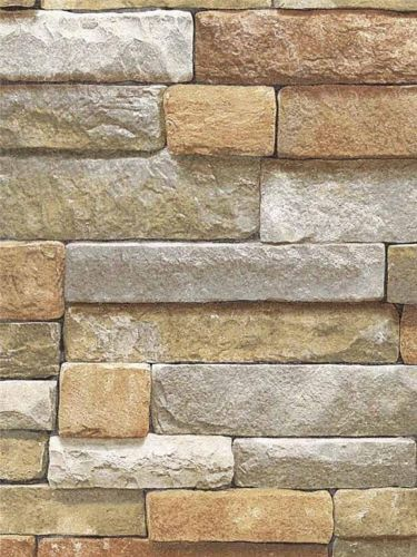 Wallpaper faux natural cut stone gray rock wall lodge look for Wall looking wallpaper