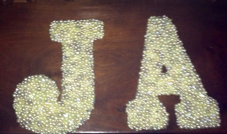 Pearl letters add a little classy touch to your dorm room for Small dirty room 7 letters