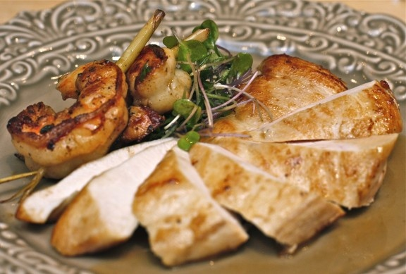 Grilled Lemongrass Skewered Shrimp with Seared Chicken Breast