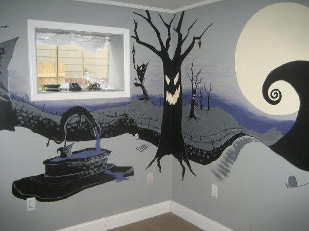 nightmare before christmas bedroom mural bedrooms. Black Bedroom Furniture Sets. Home Design Ideas