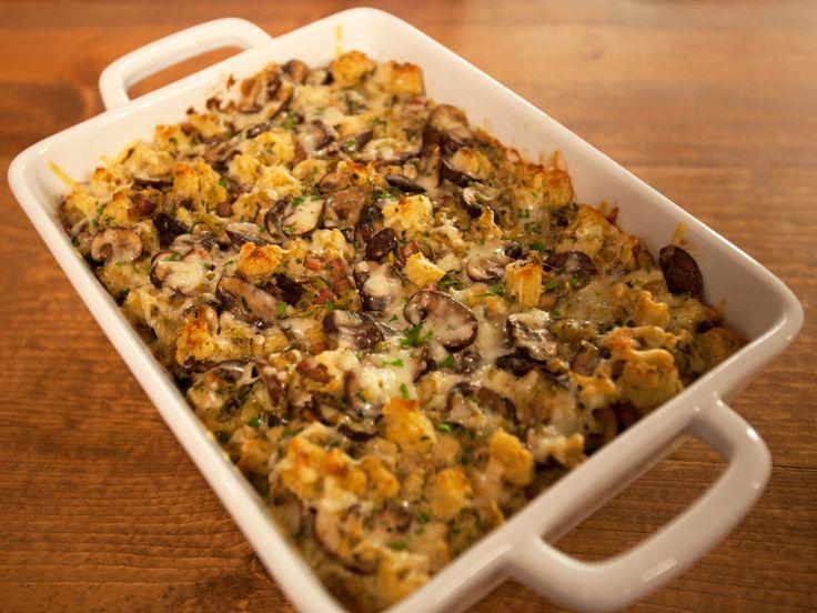 ... chicken stock, of course. Ina Garten's Mushroom and Leek Bread Pudding