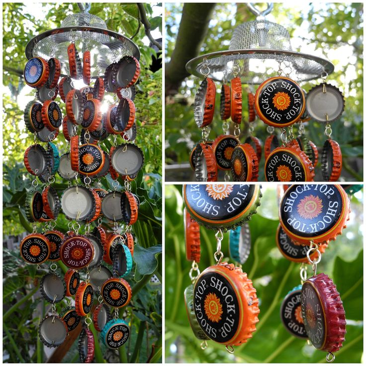 Assorted shock top custom handmade recycled beer bottle for Bottle cap wind chime