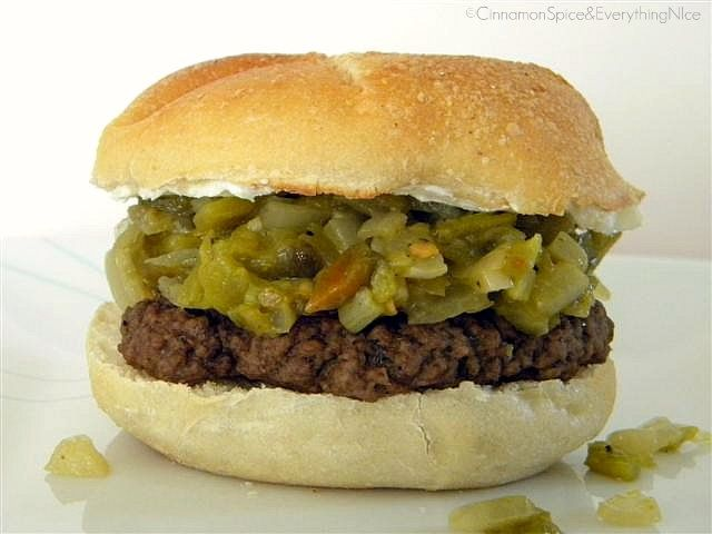 Blogger Burger Club: Green Chile Pepper & Cream Cheese Burger by ...