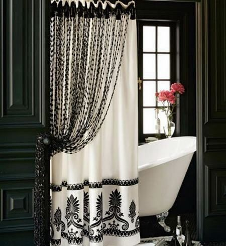 Elegant Black And White Shower Curtain For The Home