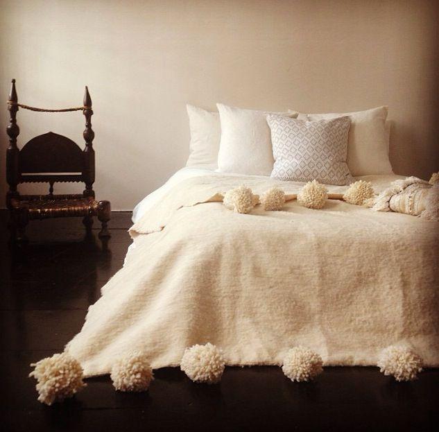 l'aviva home's brand new moroccan pom pom blankets!