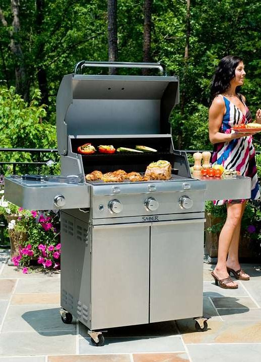 The Saber 3-burner Liquid Propane Grill with Cast Stainless Steel Lid uses a proprietary infrared cooking system that keeps meat naturally moist and tender, even when cooked to well-done.