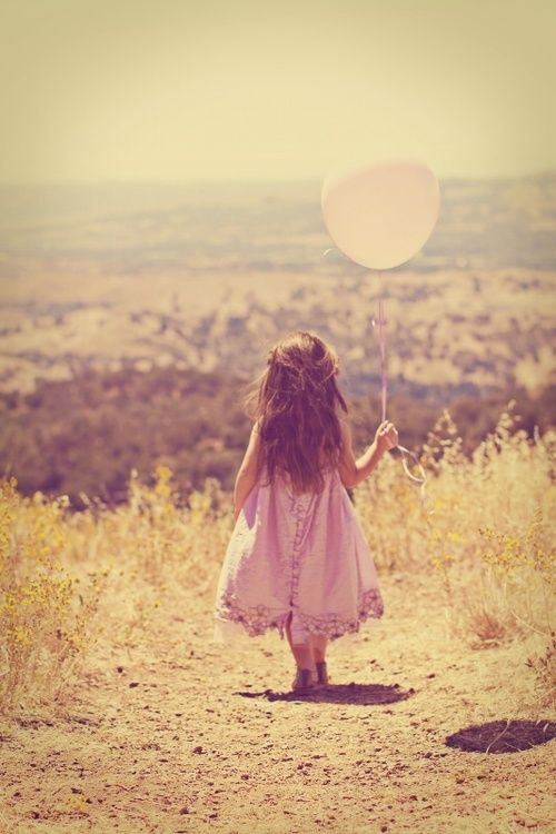♡ Little girl walking with a balloon #pink #photography #vintage #summer #kid #child #cute