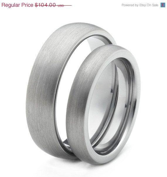 ... Two Matching Brushed Tungsten Wedding Bands Promise Rings via Etsy