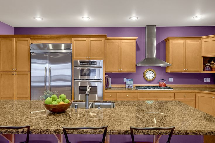 Purple kitchen paint Beautiful maple cabinets and granite counters