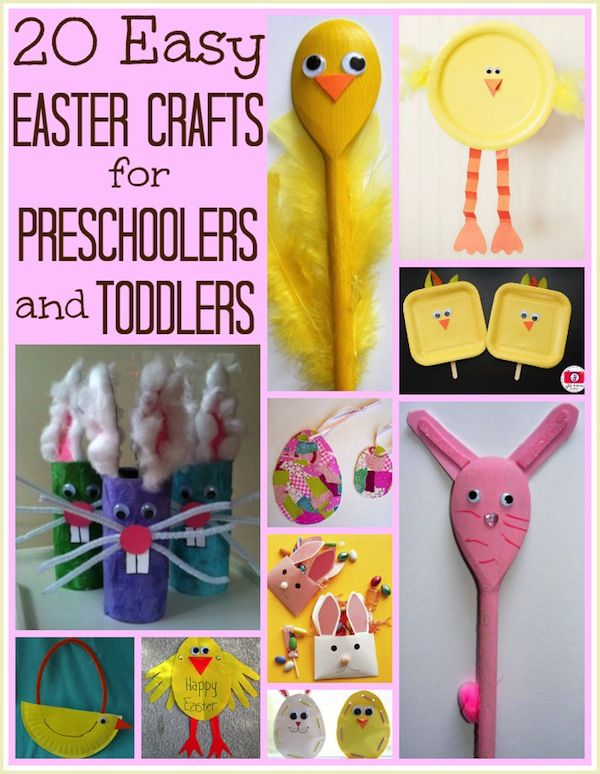 20 easy Easter crafts for preschoolers and toddlers. Great ideas for fine motor skill development!